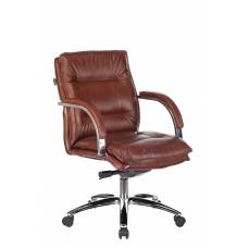 Кресло Бюрократ T-9927SL-LOW светло-коричневый Leather Eichel кожа низк.спин. крестовина металл хром