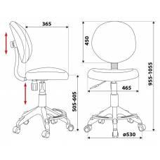 Кресло детское Бюрократ KD-W6-F/AQUA голубой марки сетка (пластик белый)