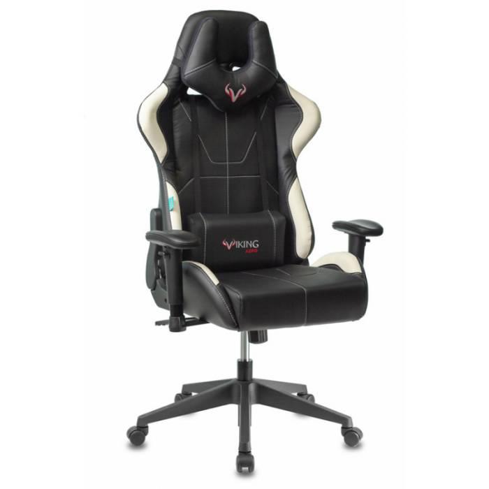 Кресло игровое Бюрократ VIKING 5 AERO WHITE черный/белый искусственная кожа купить по выгодным ценам