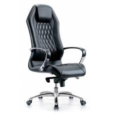 Кресло руководителя Бюрократ _AURA/BLACK черный кожа крестовина алюминий