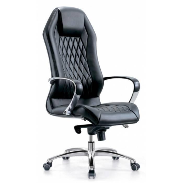 Кресло руководителя Бюрократ _AURA/BLACK черный кожа крестовина алюминий купить по выгодным ценам