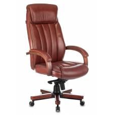 Кресло руководителя Бюрократ T-9922WALNUT светло-коричневый Leather Eichel кожа крестовина металл/дерево (T-9922WALNUT/CHOK)