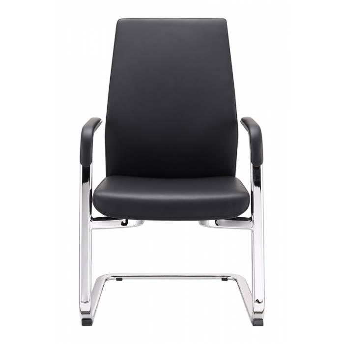 Кресло Бюрократ _JONS-LOW-V/BLACK на полозьях черный кожа купить по выгодным ценам