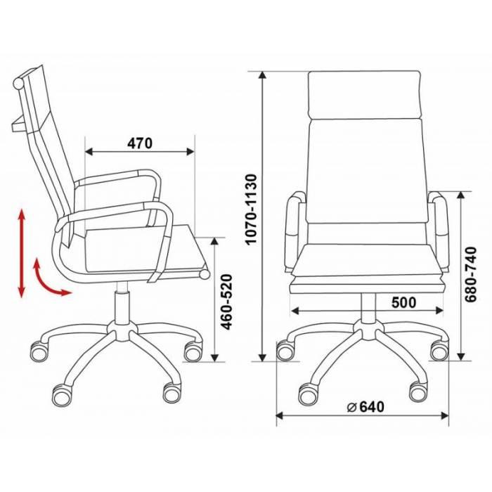 Кресло руководителя Бюрократ CH-993/red красный искусственная кожа крестовина хром купить по выгодным ценам