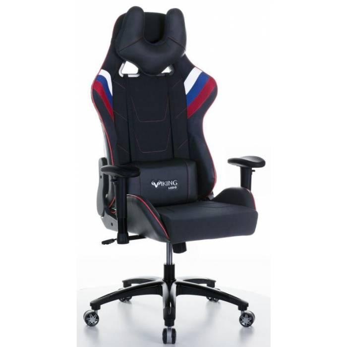 Кресло игровое Бюрократ VIKING 4 AERO RUS две подушки белый/синий/красный черный искусст.кожа/ткань купить по выгодным ценам