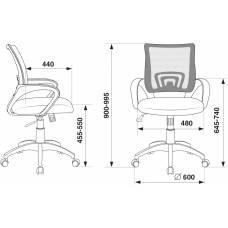 Кресло Бюрократ CH-W695N/DG/TW-12 темно-серый TW-04 TW-12 сетка/ткань (пластик белый)