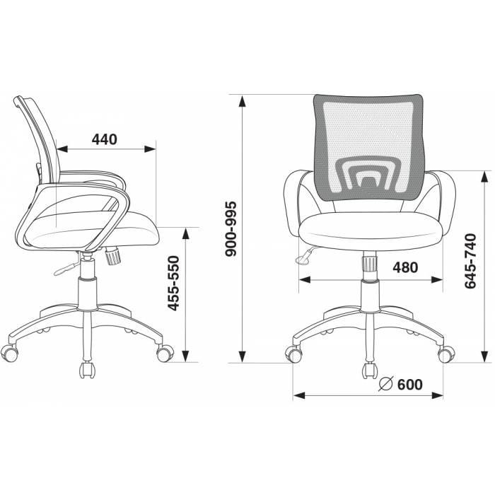 Кресло Бюрократ CH-W695N/DG/TW-12 темно-серый TW-04 TW-12 сетка/ткань (пластик белый) купить по выгодным ценам