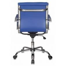 Кресло руководителя Бюрократ CH-993-Low/blue низкая спинка синий искусственная кожа крестовина хром