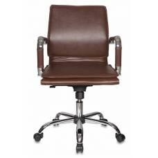 Кресло руководителя Бюрократ CH-993-Low/Brown низкая спинка коричневый искусственная кожа крестовина хром