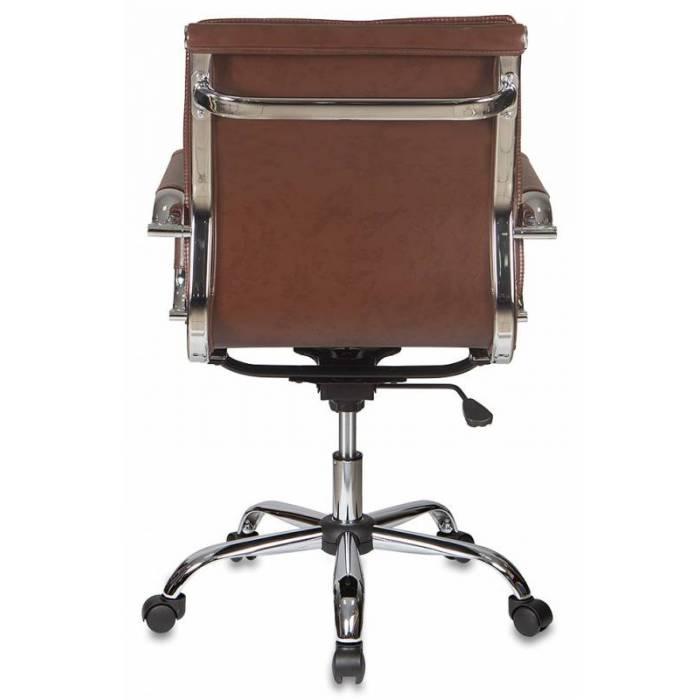 Кресло руководителя Бюрократ CH-993-Low/Brown низкая спинка коричневый искусственная кожа крестовина хром купить по выгодным ценам