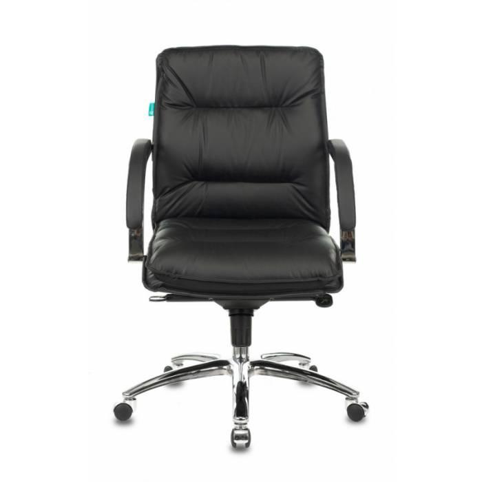 Кресло руководителя Бюрократ T-9927SL-LOW/BLACK низкая спинка черный кожа крестовина хром купить по выгодным ценам