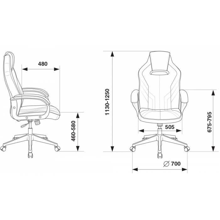 Кресло игровое Бюрократ VIKING 3 AERO BLUE черный/синий искусст.кожа/ткань купить по выгодным ценам