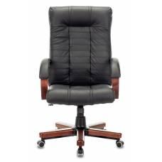 Кресло Бюрократ KB-10WALNUT черный кожа крестовина металл/дерево