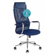 Кресло руководителя Бюрократ KB-9N/DB/TW-10N синий TW-05N TW-10N сетка крестовина хром