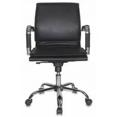 Кресло руководителя Бюрократ CH-993-Low/Black низкая спинка черный искусственная кожа крестовина хром