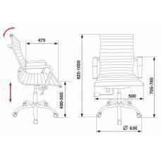 Кресло руководителя Бюрократ CH-883-LOW/IVORY низкая спинка слоновая кость искусственная кожа крестовина хром
