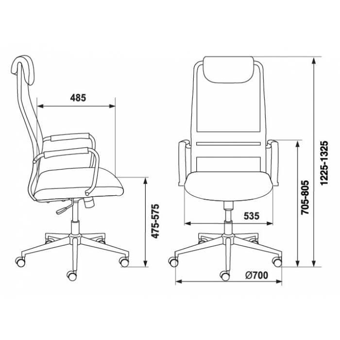 Кресло руководителя Бюрократ KB-9N/DG/TW-12 серый TW-04 TW-12 сетка крестовина хром купить по выгодным ценам