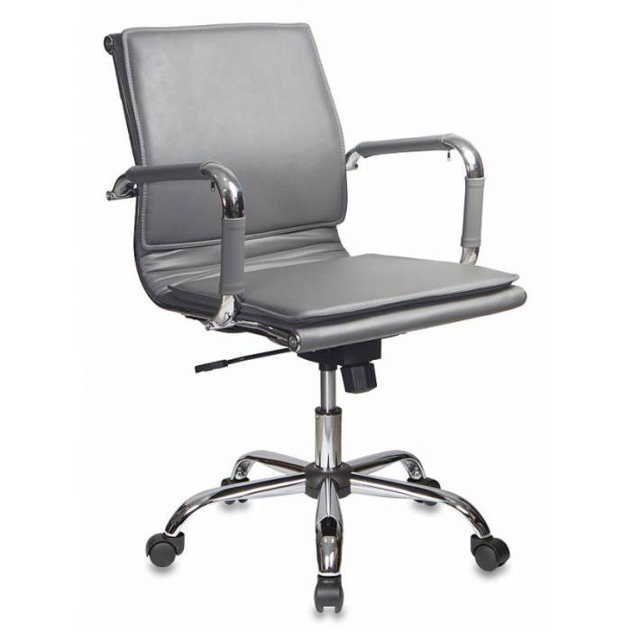 Кресло руководителя Бюрократ CH-993-Low/grey низкая спинка серый искусственная кожа крестовина хром купить по выгодным ценам