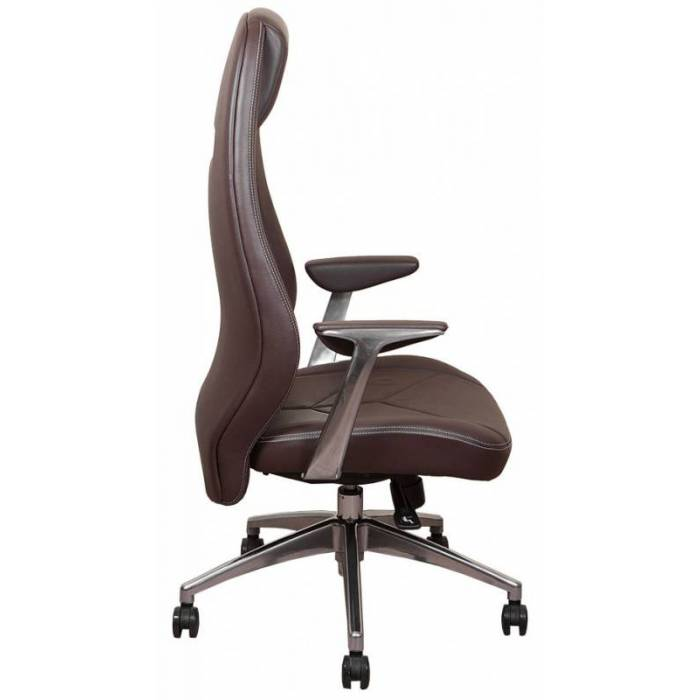 Кресло Бюрократ Zen коричневый кожа крестовина алюминий купить по выгодным ценам