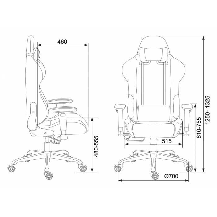Кресло игровое Бюрократ 771N/GREY-BL две подушки серый с черными вставками крестовина металл купить по выгодным ценам