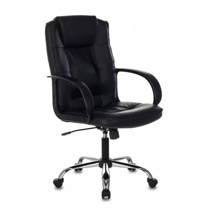 Кресло Бюрократ T-800N черный кожа крестовина металл хром купить по выгодным ценам