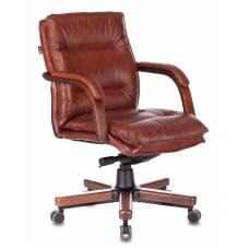 Кресло Бюрократ T-9927WALNUT-LOW светло-коричневый Leather Eichel кожа низк.спин. крестовина металл/дерево