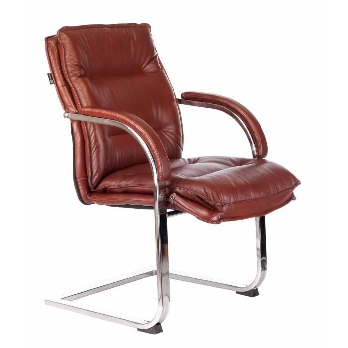 Кресло Бюрократ T-9927SL-LOW-V светло-коричневый Leather Eichel кожа низк.спин. полозья металл хром (T-9927SL-LOW-V/CHOK) купить по выгодным ценам