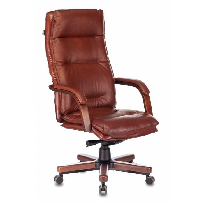 Кресло руководителя Бюрократ T-9927WALNUT светло-коричневый Leather Eichel кожа крестовина металл/дерево (T-9927WALNUT/CHOK) купить по выгодным ценам