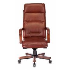 Кресло Бюрократ T-9927WALNUT светло-коричневый Leather Eichel кожа крестовина металл/дерево