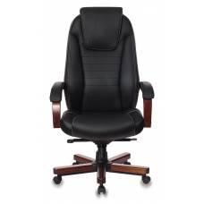 Кресло руководителя Бюрократ T-9923WALNUT/BLACK черный кожа крестовина дерево