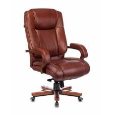 Кресло Бюрократ T-9925WALNUT светло-коричневый Leather Eichel кожа крестовина металл/дерево