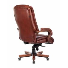 Кресло руководителя Бюрократ T-9925WALNUT светло-коричневый Leather Eichel кожа крестовина металл/дерево (T-9925WALNUT/CHOK)