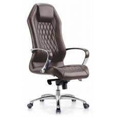 Кресло руководителя Бюрократ _AURA/BROWN коричневый кожа крестовина алюминий