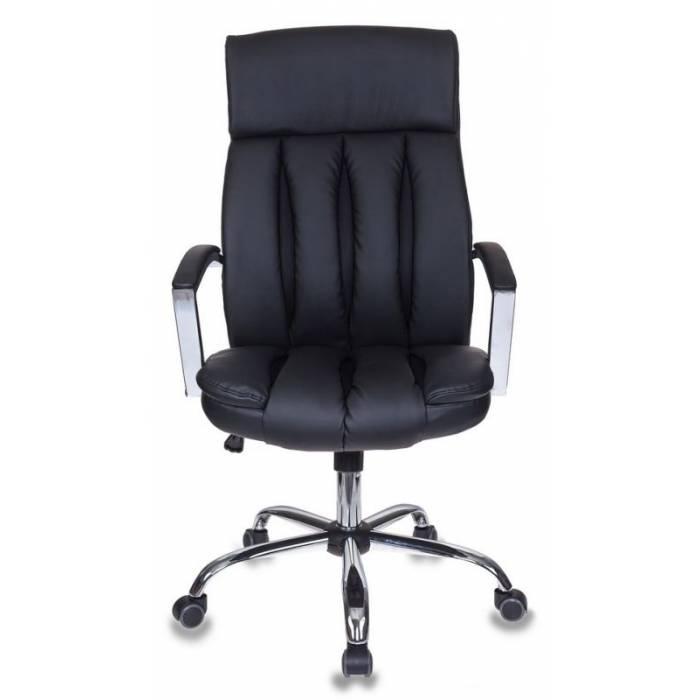 Кресло руководителя Бюрократ T-8000SL/BL+BLACK черный искусственная кожа крестовина хром купить по выгодным ценам