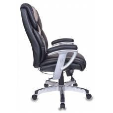 Кресло руководителя Бюрократ T-9999/BLACK черный рец.кожа/кожзам колеса черный (пластик серебро)