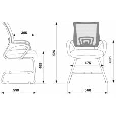 Кресло Бюрократ CH-695N-AV/DG/TW-11 на полозьях серый TW-04 сиденье черный TW-11