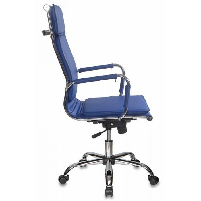 Кресло руководителя Бюрократ CH-993/blue синий искусственная кожа крестовина хром купить по выгодным ценам