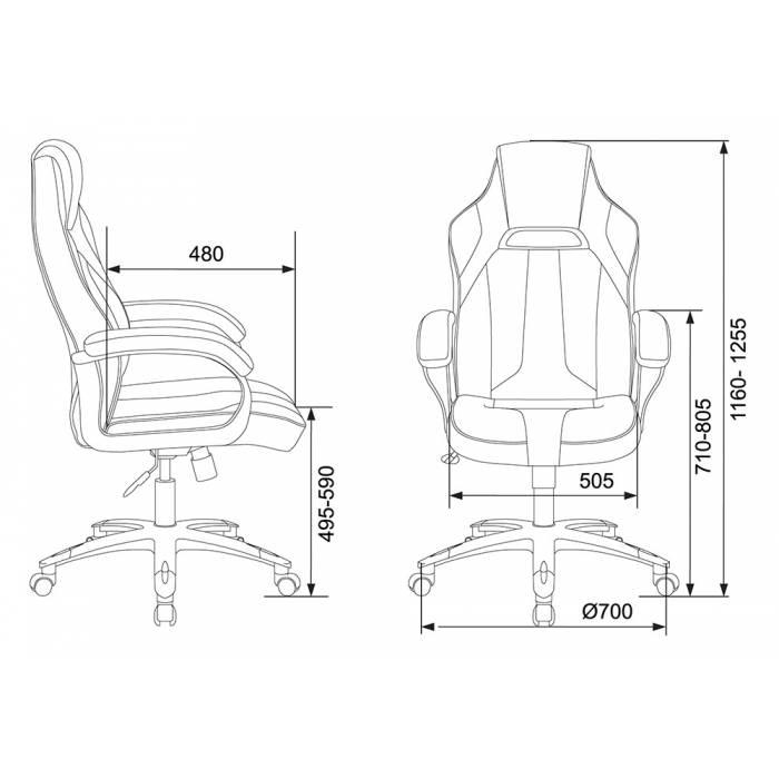 Игровое кресло Бюрократ VIKING 2 AERO черный/синий искусст.кожа/ткань крестовина пластик купить по выгодным ценам