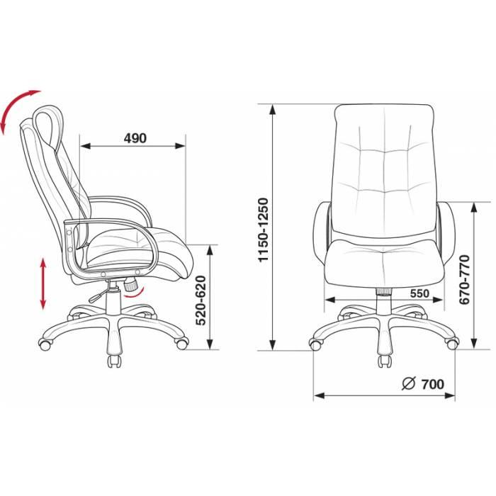 Кресло руководителя Бюрократ CH-824B/F4 темно-серый искусственный нубук купить по выгодным ценам