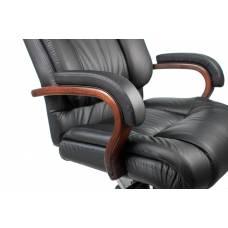 Кресло Бюрократ T-9925WALNUT черный кожа крестовина металл/дерево
