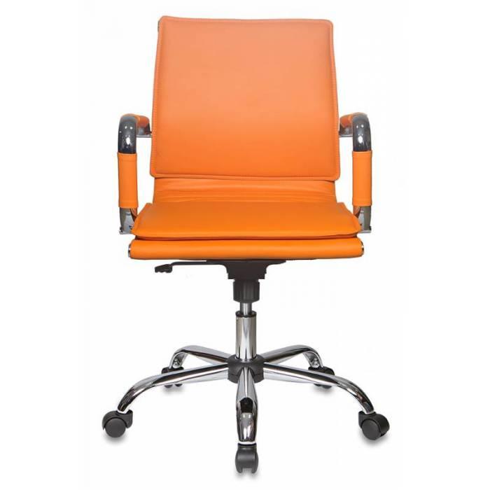 Кресло руководителя Бюрократ CH-993-Low/orange низкая спинка оранжевый искусственная кожа крестовина хром купить по выгодным ценам