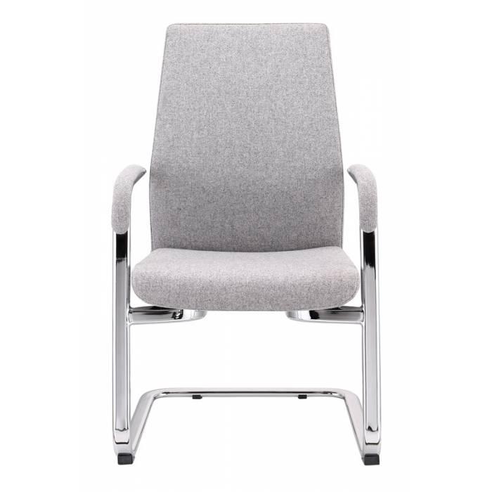 Кресло Бюрократ JONS-LOW-V серый низк.спин. полозья металл хром купить по выгодным ценам